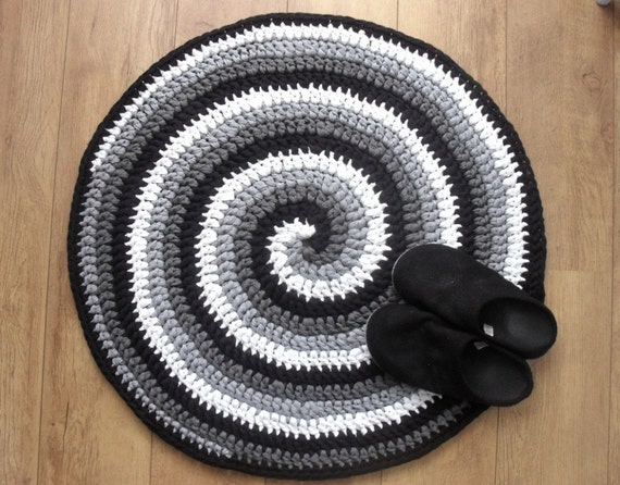 Crochet Rug Pattern Black White And Gray Spiral Crocheted Etsy