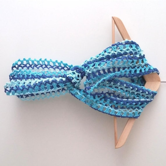 Crochet Summer Scarf Pattern Little Blue Summer Scarf Etsy