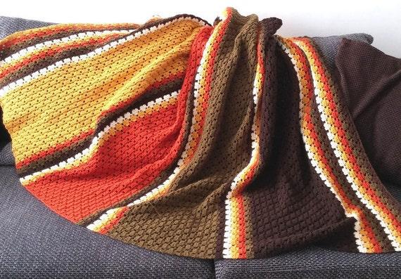 Easy Crochet Blanket Pattern Pdf Us Terms Autumn Etsy