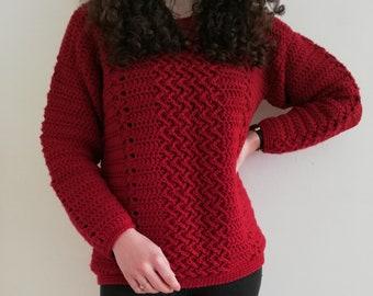 Crochet sweater pattern, Alacritas sweater, oversized crochet pullover, PDF crochet women jumper pattern sizes S (M, L, XL, 2X, 3X)
