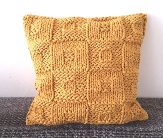 Knit Cushion Patternbeginners Knitting Paternmustard Etsy