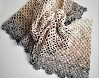 Crochet shawl pattern, Phebe Crochet Wrap Pattern, Crochet scarf, Lace stole pattern, Crochet throw pattern US terms