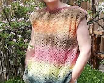 Crochet Summer top pattern / Sunset glow tee pattern / easy crochet tee pattern / summer crochet pattern / lace chevron crochet pattern