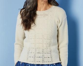 Knitting pattern:sweater pattern,Hemera sweater-beginner pullover pattern, women lace jumper pattern sizes XS, S, M, L, XL, 2X, 3X, 4X, 5X