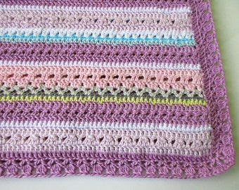 "Fantasy crochet baby blanket pattern,""Pretty pastel""baby blanket,Mixed stitch stripey blanket,homemade baby shower gift,newborn baby afghan"