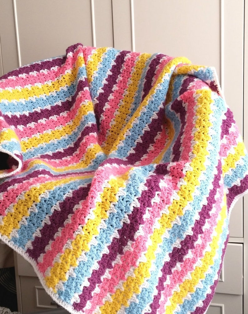 Crochet Blanket Patterncheesecake Easy Stripped Etsy