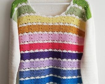 Crochet pattern women, Sweet Pastel sweater PDF crochet jumper pattern size XS-3XL, crochet clothing pattern, women crochet pullover pattern
