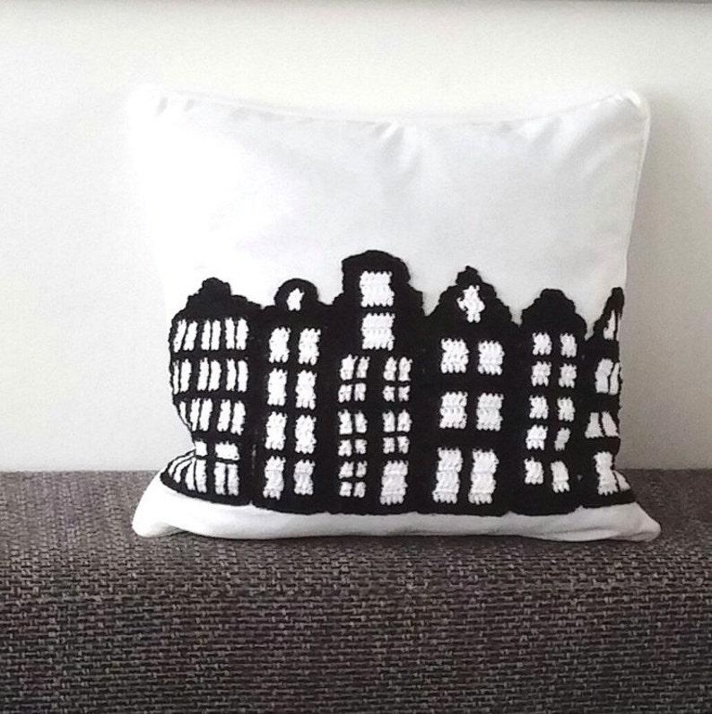 Crochet pillow pattern Amsterdam unique cushion crochet image 0