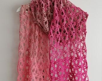 Crochet shawl pattern,Pink blossom Lace Crochet Stole,Crochet Wrap Pattern,Crochet scarf,Lace stole pattern,Crochet throw pattern US terms