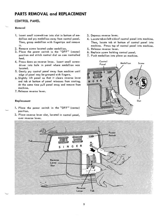 Singer Sewing Machine Model 40 Service Manual Repair Manual Etsy Delectable Parts Of A Manual Sewing Machine