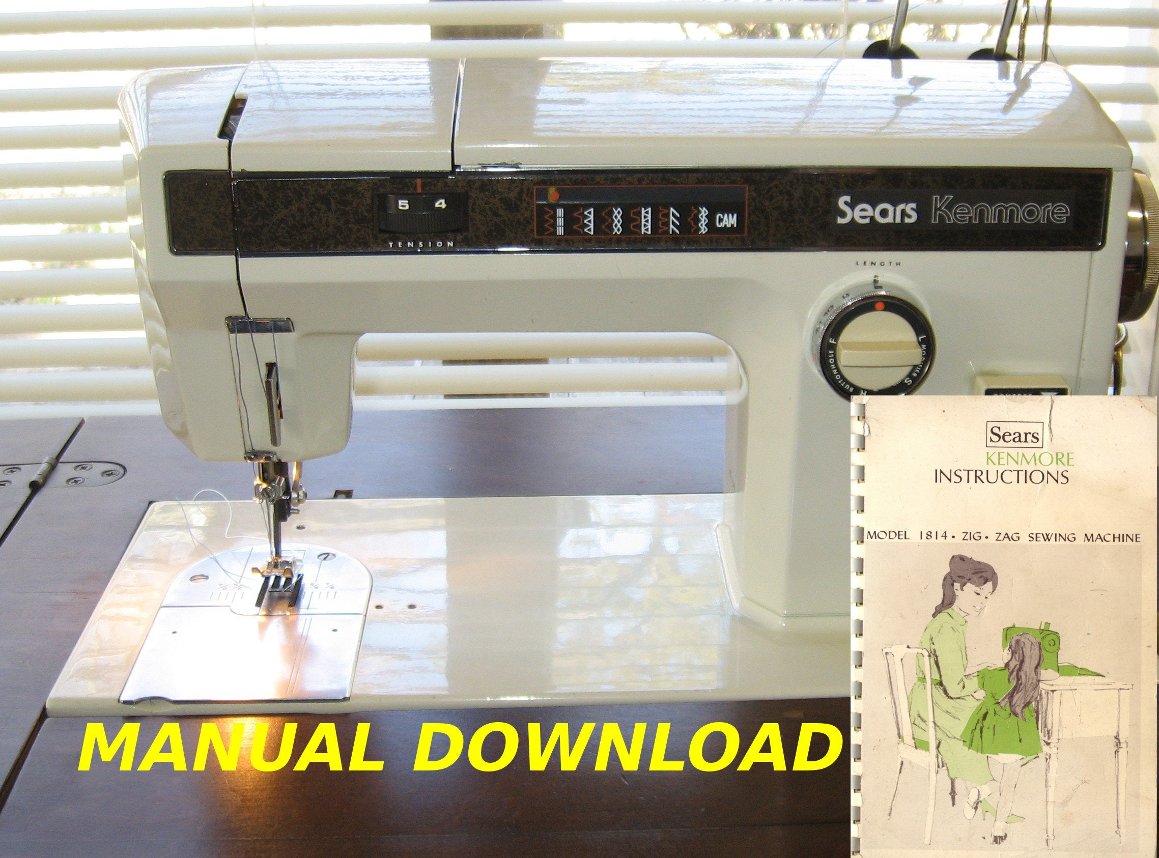Sears Kenmore Model 1814 Sewing Machine Owners Manual Etsy Free Treading Diagrams 50