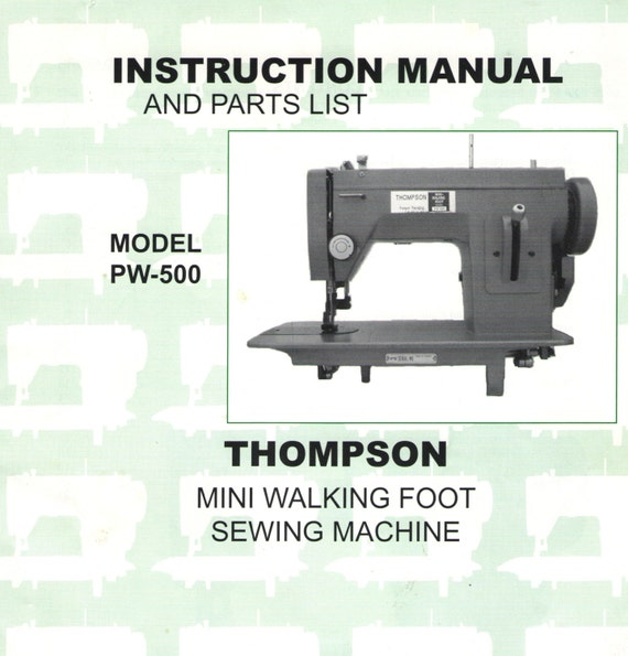 Thompson PW40 Sewing Machine Owners Manual Thompson Mini Etsy Mesmerizing Toyota Easy Sewing Machine Manual