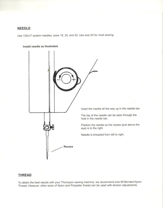 Thompson PW40 Sewing Machine Owners Manual Thompson Mini Etsy Simple Thompson Sewing Machine Manual