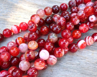 """10mm Smooth Red Striped Agate beads, 15"""" strand 