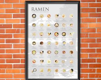 The Ramen Poster 2.0 [DIGITAL] introduce 42 regional ramen specialties across Japan - Mt. Fuji (Gray Background)