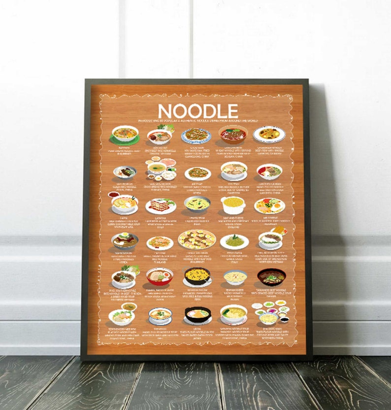 The Noodle Poster 16x20 30 Most Popular Noodle Dishes in the image 0