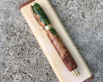 Rollerball Pen with case, Magnetic Burl Wood, Green Resin and Gold Graduate
