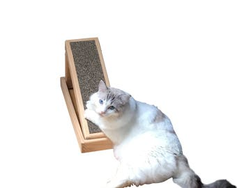 Save your furniture; buy Hugo's Handmade Wood Cat Scratcher with replaceable cardboard inserts