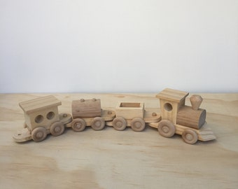 All Wooden toy train set with steam locomotive and three carriages, handmade.