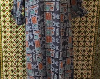 c2eb51d99828 Vintage 1970s Batik Cotton Caftan Blue Batik Print Hippie Ethnic Boho  Homemade Long Maxi Caftan Gypsy Summer Dress Indian Festival
