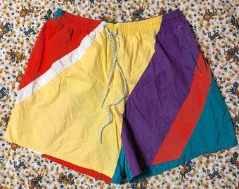 e4932c583bc92 Vintage 1980s 1990s Swim Trunks Swim Shorts by Oceanside Rainbow Striped  Drawstring Summer Vacation Cruise Beach Pool Retro Festival
