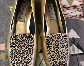 4583ddb0b2dd3 Vintage 1990s Metallic Gold and Leopard Print Loafers by Amanda Retro Animal  Print Brogues Grunge Festival Streetwear Retro Gold Shoes