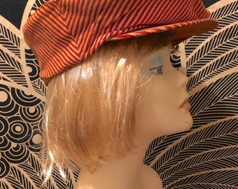 6b06ade3 Vintage 1930s 1940s Red Striped Floppy Newsboy Hat Gangster Driving Cap  Cabbie Hat Golf Baker Boy Cap by Real McGregor Make Retro Costume