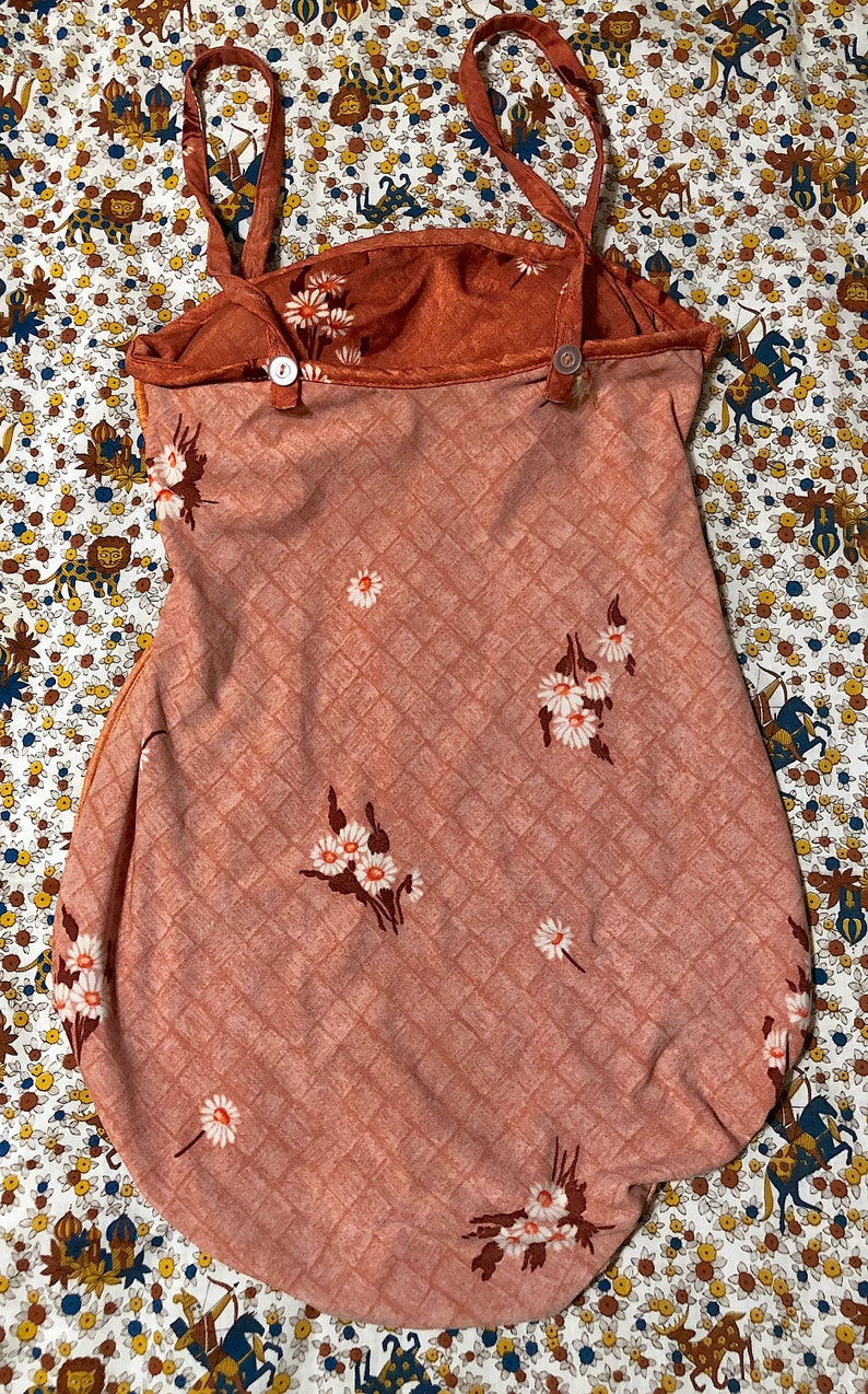 Vintage 1970s 1980s Brown Floral Mainstream Some-Body One Piece Swimsuit Daisy Swimsuit Bathing Suit Hippie Boho Festival Picnic Swimsuit