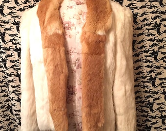 Vintage 1970s 1980s Rabbit Fur Coat Two-Toned Rabbit Fur Hippie Boho Retro Fur Coat