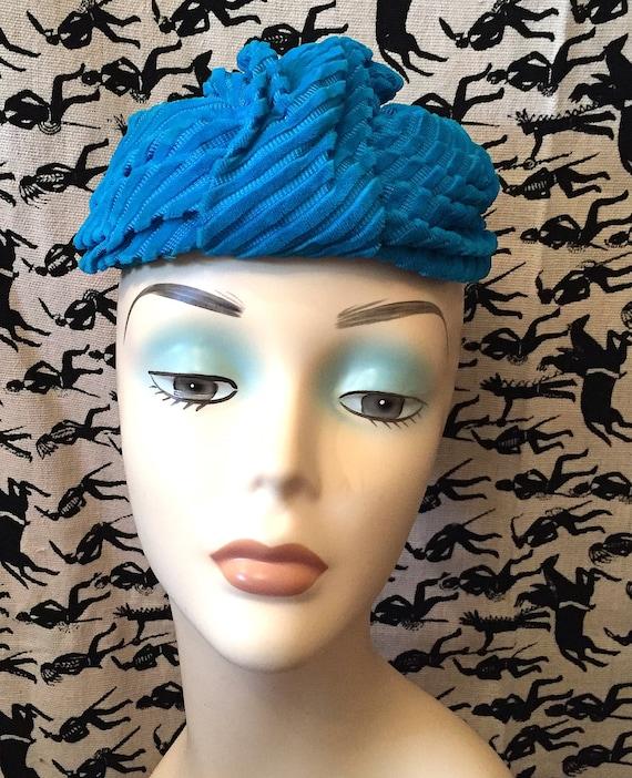 Vintage 1950s Velvet Turban Hat Turquoise Velvet M