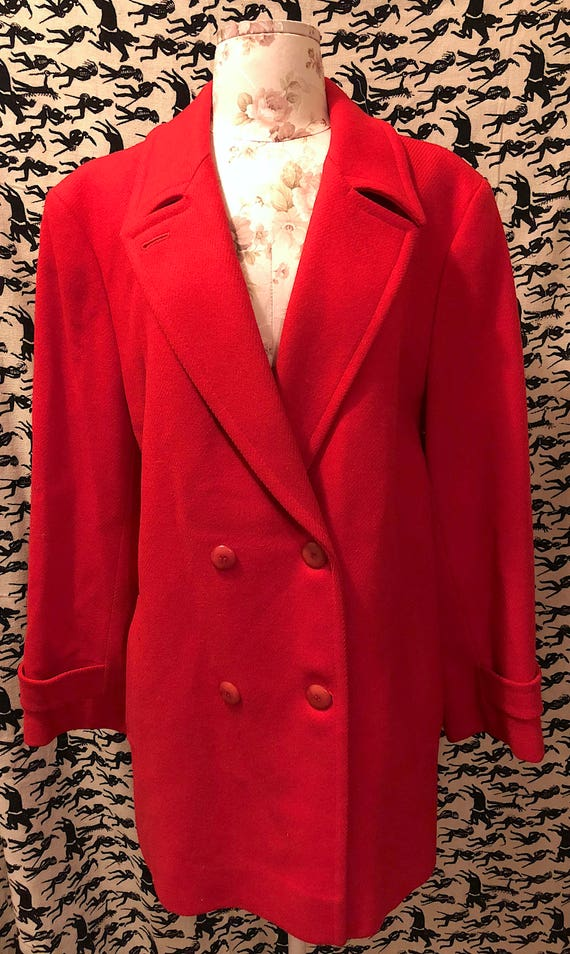 Vintage 1970s 1980s Pendleton Red Wool Pea Coat Cl