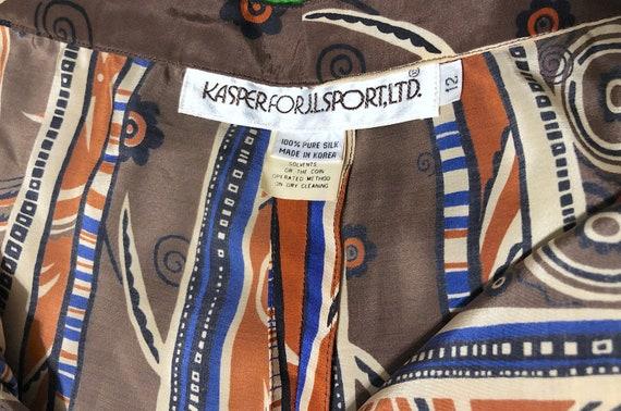 Vintage 1970s Patterned Silk High Waist Novelty P… - image 5