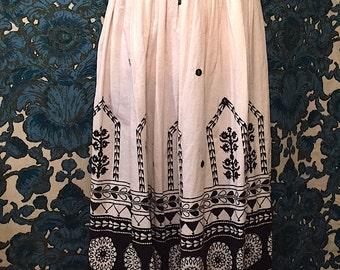 Vintage 1970s Cotton Boho Midi Skirt Festival Hippie India Skirt Black and White Skirt