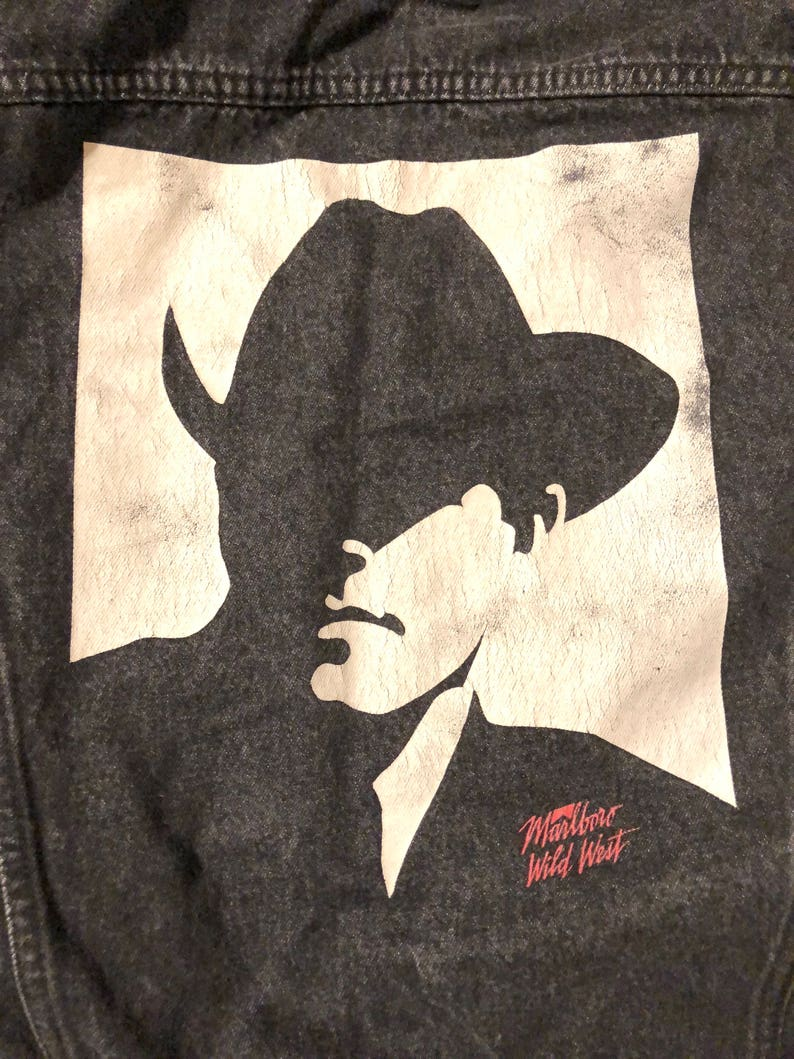 540bfee4a0 Vintage de 1980 Marlboro Hombre Denim negro chaqueta chaqueta