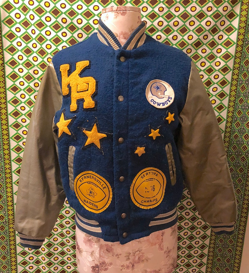 premium selection 2734d 98180 Vintage 1970s Sears Official NFL Wool Letterman Jacket Blue and Gray Dallas  Cowboys Patches Varsity Jacket Insulated Jakcet Costume Prop