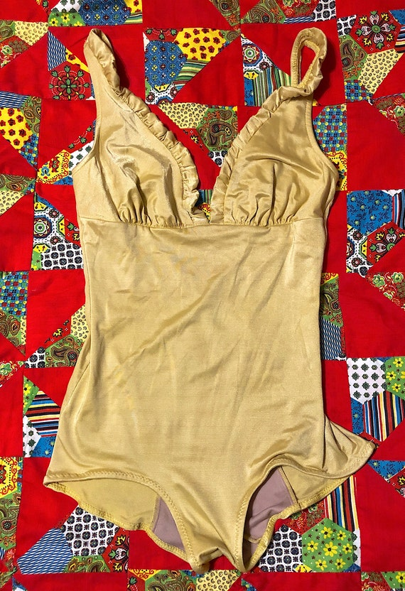 Vintage 1960s Sinclair Womens Gold One Piece Swimsuit Bathing Suit Pin Up Style Mod Retro Festival Bombshell 60s Designer Swim Wear