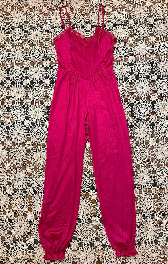 Vintage 1970s 1980s Hot Pink Nylon Jumpsuit by Lad