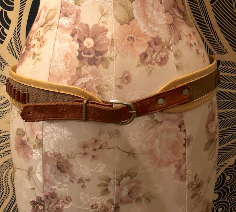 Vintage 1950s 1960s Kassnar Tan Leather and Canvas Ammunition Belt Bullet  Belt Western Retro Ammo Hunting Belt Costume Prop Modern Outlaw