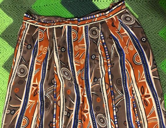 Vintage 1970s Patterned Silk High Waist Novelty P… - image 4