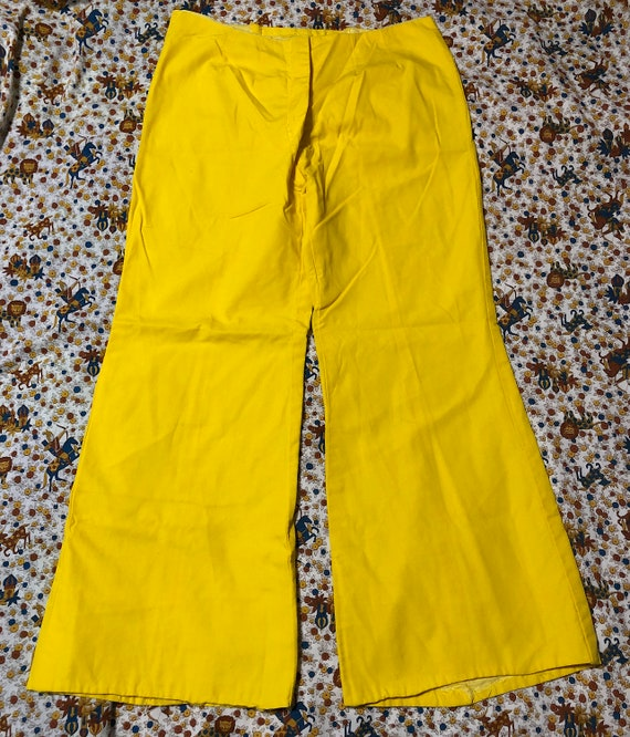 Vintage 1970s Bell Bottom Hip Hugger Bright Yellow