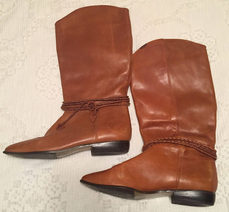 086e14cd38380 Vintage 1980s 1990s Tall Leather Boots Caramel Tan Flats Riding Boots Ankle  Braid Western Boots Hippie Boho Festival