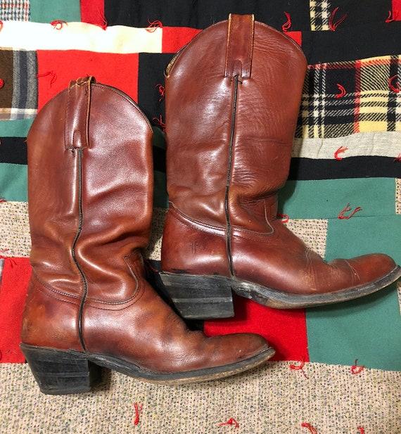 Vintage 1980s FRYE Mens Leather  Western Cowboy Bo