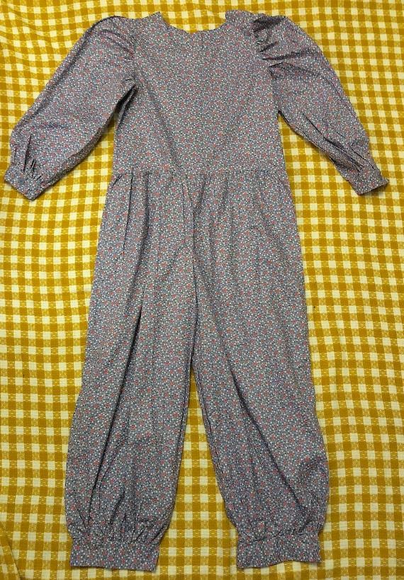 Vintage 1980s 1990s Floral Cotton Jumpsuit Long Pu