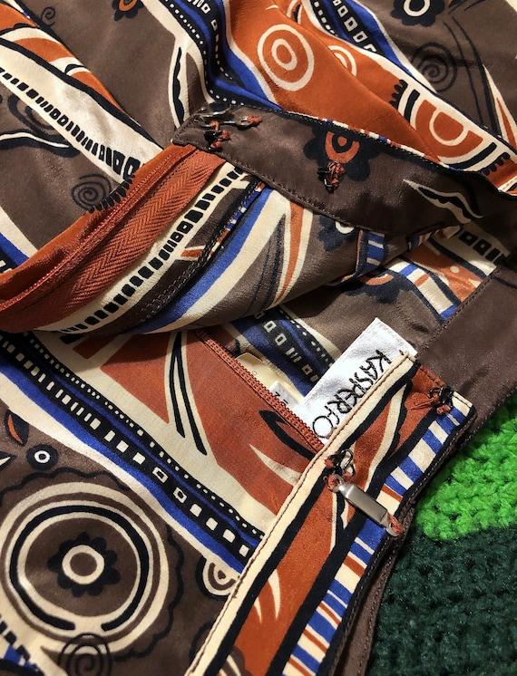 Vintage 1970s Patterned Silk High Waist Novelty P… - image 6