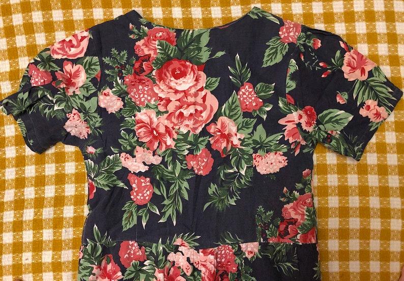 Vintage 1980s 1990s Floral Cotton Jumpsuit Short Sleeve Romantic Balloon Leg Jumpsuit Retro Cottage Core Boho Hippie by Ulterior Motives