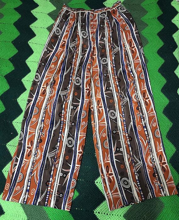 Vintage 1970s Patterned Silk High Waist Novelty P… - image 1
