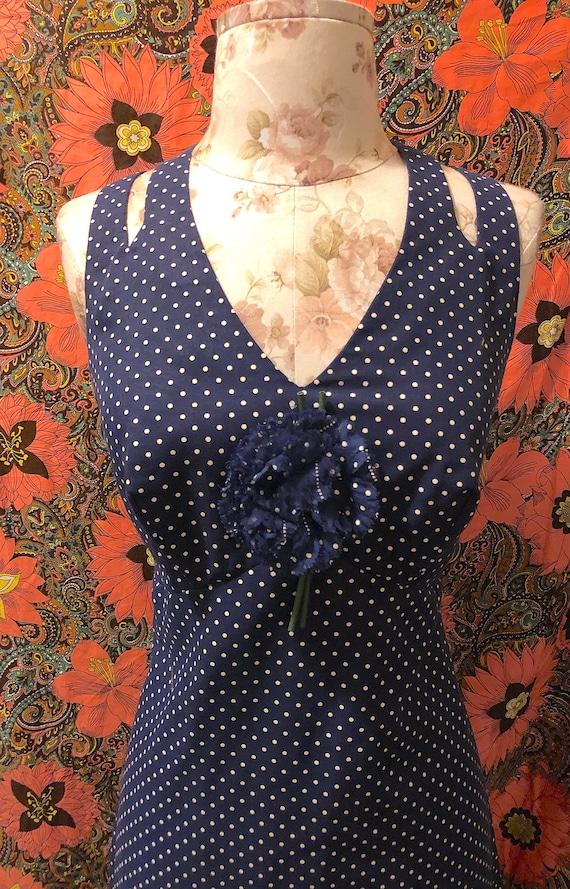 Vintage 80s Polka Dot Sundress Halter Top Summer Dress Apple Print Navy Blue 1980s Sundress