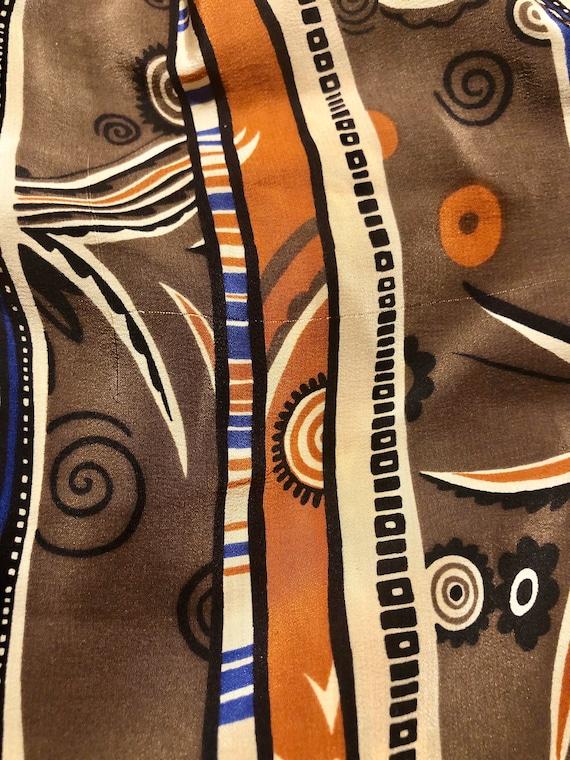 Vintage 1970s Patterned Silk High Waist Novelty P… - image 10