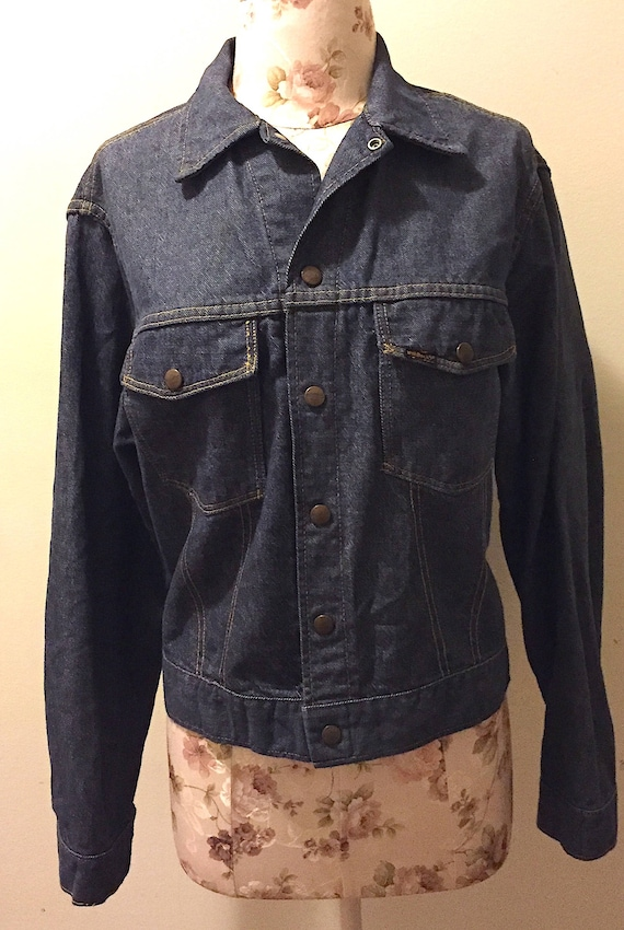 a1313d03ae Vintage 1970s Sears Roebucks Denim Jacket Vintage Retro Dark