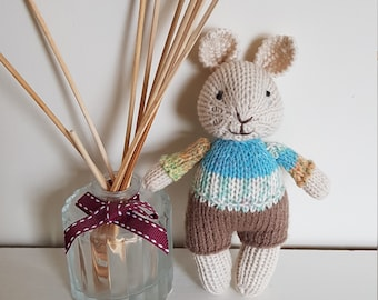 722e98121 Hand knitted Bunny. 15cm high. Baby gift. Baby shower. Baby s first toy.  Grandson. Newborn. Birth. Nursery ornament.